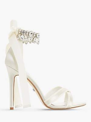 Dune Bridal Collection Mrs Crystal Ankle Tie Stiletto Sandals, Ivory