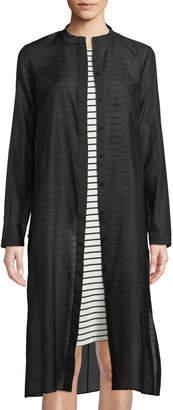 Lafayette 148 New York Auden Long Cotton/Silk Shirtdress Blouse