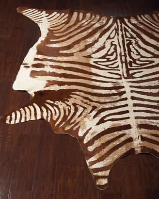 Valdis Zebra-Print Hairhide Rug, 5' x 7'