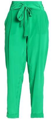 Roberto Cavalli Cropped Silk Crepe De Chine Tapered Pants