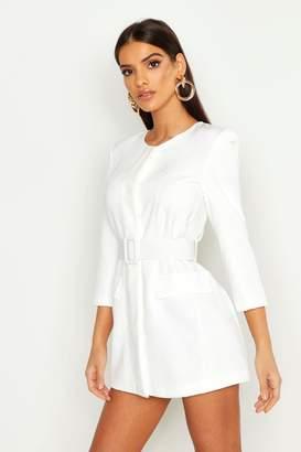 boohoo Collarless Self Belt Blazer Dress