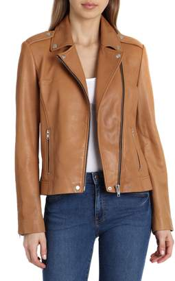 Badgley Mischka Collection Washed Leather Biker Jacket