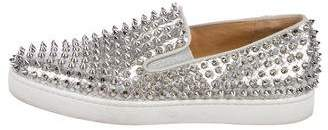 Christian Louboutin Roller Boat Metallic Spikes Sneakers