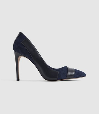 Reiss AUGUSTA POINT TOE COURT SHOES Navy