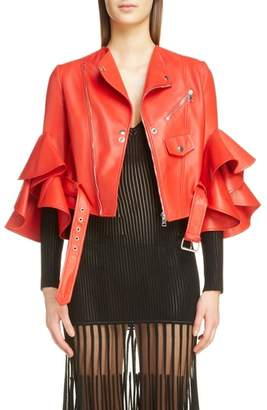 Alexander McQueen Leather Ruffle Moto Jacket