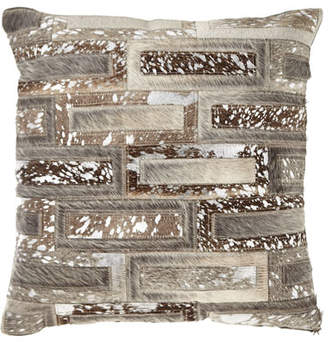 Noury Hair Hide Rectangles Patchwork Pillow