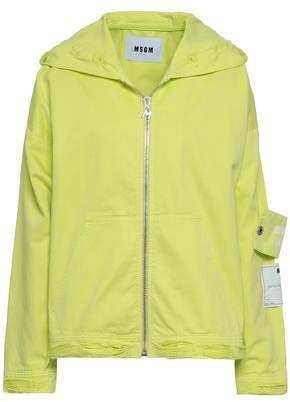 MSGM Appliqued Printed Denim Hooded Jacket