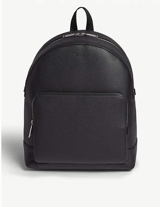 BOSS Black Grained Leather Crosstown Backpack