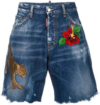 DSQUARED2 embroidered frayed denim shorts