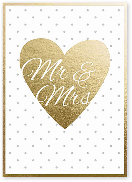 Gold Heart Wedding Greeting Card - Set of Six