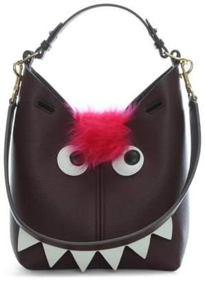 The Bucket Mini Creature Bag in Mini Grain in Claret Grained Leather Anya Hindmarch hItFHHk
