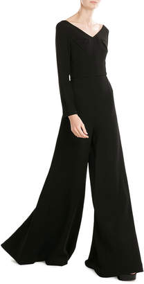 Emilia Wickstead Wide Leg Wool Jumpsuit