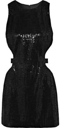 HANEY Twiggy Cutout Sequined Crepe Mini Dress - Black