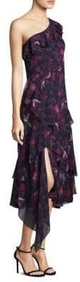 Tanya Taylor Isua Floral Ruffled Silk Midi Dress