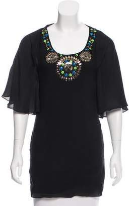 Tibi Embellished Silk Tunic