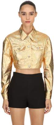 Jeremy Scott GOLDEN METALLIC COATED CROPPED JACKET