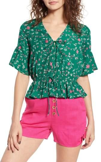 Floral Tie Front Peplum Top