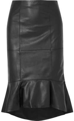 Alice + Olivia Kina Ruffled Leather Skirt - Black