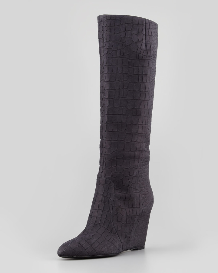 Brian Atwood Bomand Croc-Embossed Wedge Boot, Matte Black