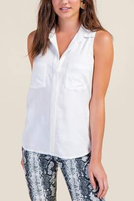 4a1ea47a09f32 francesca s Lydia Button Down Tank Top - White