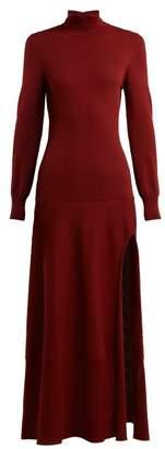 Jacquemus - Baya Knitted Cotton Blend Maxi Dress - Womens - Burgundy