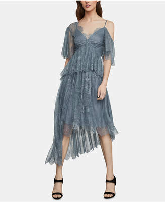 BCBGMAXAZRIA One-Shoulder Floral-Lace Gown