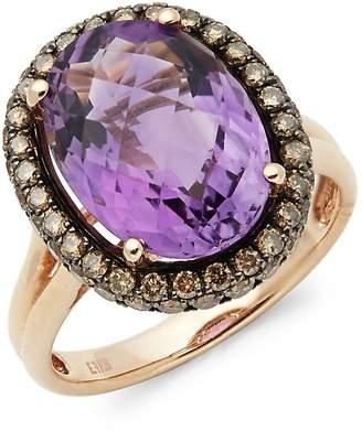 Effy Women's 14K Rose Gold Diamond & Amethyst Ring