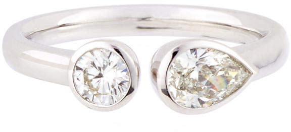 Memoire Pear & Round Diamond Side-by-Side Ring, Size 6.5