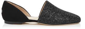 Jimmy Choo GLOBE FLAT Black Coarse Glitter and Suede Flats