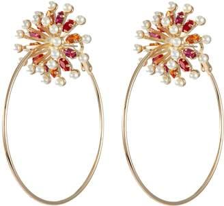 Anton Heunis Swarovski Pearl Gl Crystal Flower Hoop Earrings