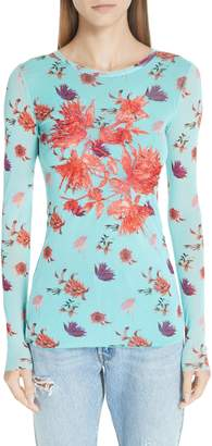 Fuzzi Embroidered Floral Tulle Top