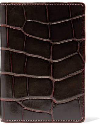 Factory The Case Croc-effect Leather Passport Cover - Brown
