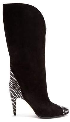Givenchy - High Snakeskin Effect Panel Suede Boots - Womens - Black White