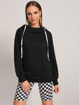 Shein Drawstring Detail Long Sleeve Hooded Sweatshirt