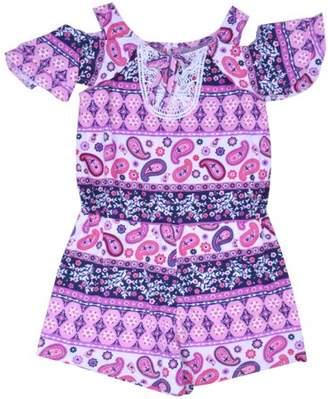 Nannette Little Girls' 4-6X Lace Cold Shoulder Yummy Knit Romper