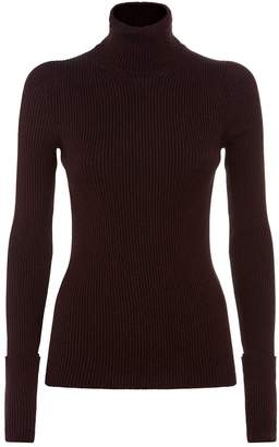 Roberto Cavalli Metallic Ribbed Roll Neck Sweater