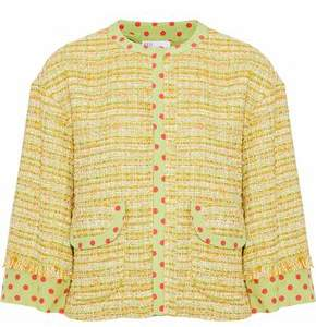RED Valentino Polka-Dot Silk-Trimmed Tweed Jacket