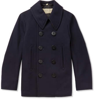 Burberry Double-Breasted Wool-Blend Peacoat - Navy
