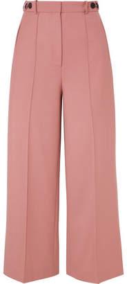 Rokh Cropped Twill Wide-leg Pants - Blush