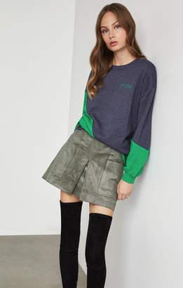 BCBGMAXAZRIA Asymmetric Colorblocked Sweatshirt