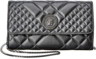 Versace Medusa Quilted Leather Wallet On Chain