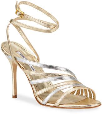 Manolo Blahnik Acante Strappy Metallic Sandals