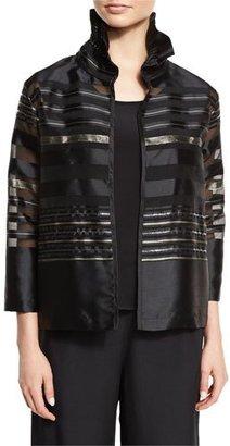 Caroline Rose Striped Organza Bracelet-Sleeve Jacket, Multi/Black $395 thestylecure.com