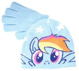 My Little Pony The Cookie Company Rainbow Dash Girls Blue Winter Hat & Gloves Set - One Size