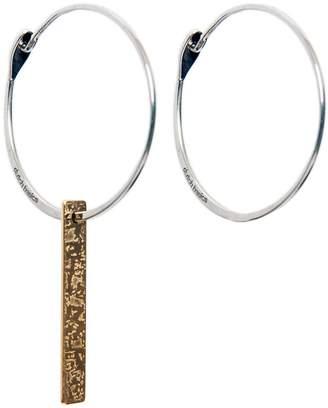 Dutch Basics - Silver Hoop Earrings With Patterned Bar Pendant