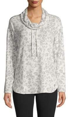 Calvin Klein Cowl-Neck Leopard-Print Drawstring Sweatshirt