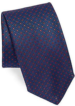Canali Men's Square Pattern Silk Tie