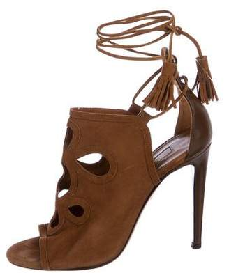 Aquazzura Suede Cutout Sandals