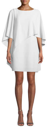 Halston Flowy Boat-Neck Asymmetric Drape Cocktail Dress