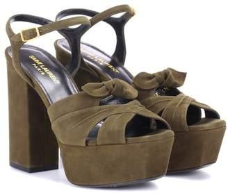 Saint Laurent Farrah 80 suede plateau sandals